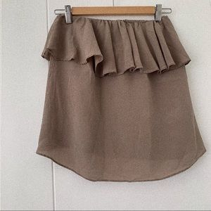 Olive & Olivia Tan Ruffle Tube Top